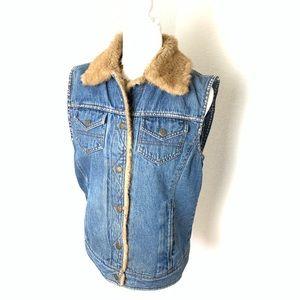 JLC Faux Fur quilted denim vest women's Sz  M